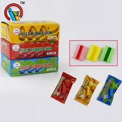 chewing bubble gum candy with jelly